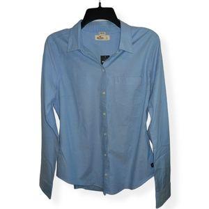 Blue Cotton Stretch Button Down